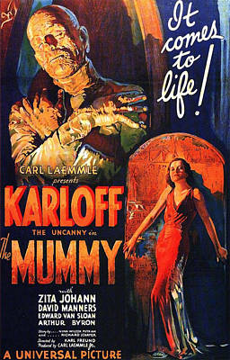 Boris Karloff In The Mummy 1932 Print by Mountain Dreams