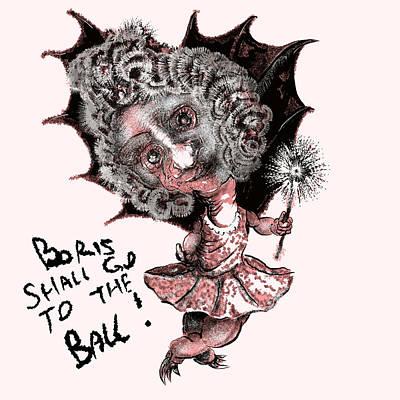 Boris Drawing - Boris Shall Go To The Ball by John Groves