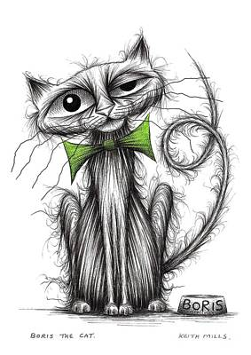 Moggy Drawing - Boris The Cat by Keith Mills