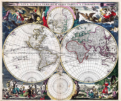 Bormeester Map Of The World 1685 Print by Justyna JBJart