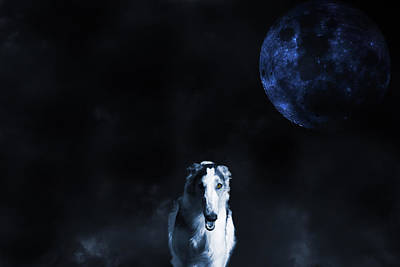 Borzoi Wolf-hound, Hunting Under A Full Moon Print by Christian Lagereek