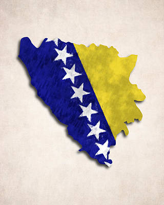 Bosnia Digital Art - Bosnia And Herzegovina Map Art With Flag Design by World Art Prints And Designs