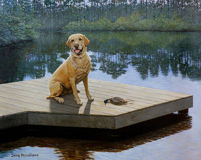 Golden Labrador Painting - Boss by Doug Strickland
