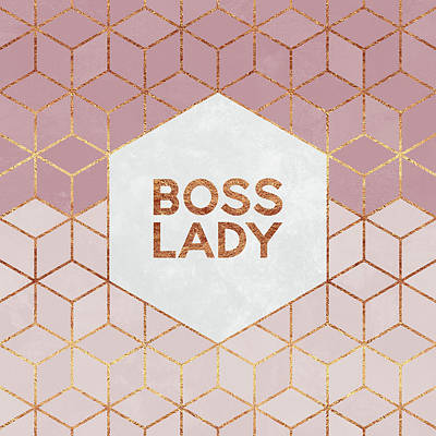 Typography Digital Art - Boss Lady by Elisabeth Fredriksson