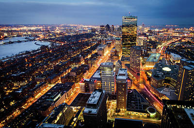 Prudential Center Photograph - Boston At Night by Michael Weber