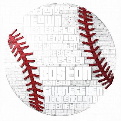 Boston Baseball Print by Brandi Fitzgerald