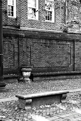 Boston Bench Bw Print by John Rizzuto