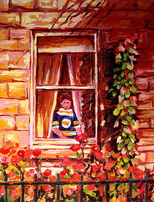 Montreal Winter Scenes Painting - Boston Bruin Fan by Carole Spandau