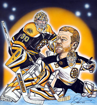 Hockey Drawing - Boston Bruins Goalie Tim Thomas by Dave Olsen