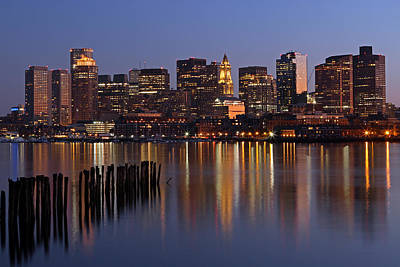 Custom House Tower Print featuring the photograph Boston By Night by Juergen Roth