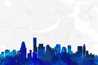 Boston Digital Art - Boston Cityscape And Streetmap Blue Skyline by Jurq Studio