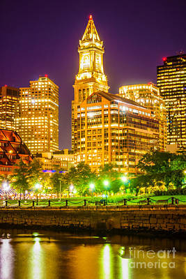 Custom House Tower Print featuring the photograph Boston Cityscape At Night by Paul Velgos