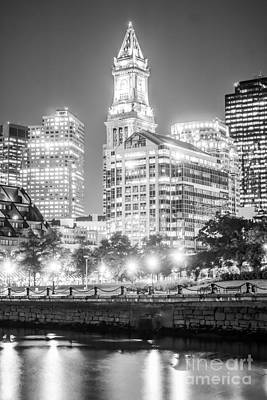 Custom House Tower Print featuring the photograph Boston Cityscape Black And White Photo by Paul Velgos