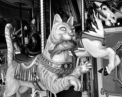 Boston Common Merry Go Round Cat Boston Ma Black And White Print by Toby McGuire