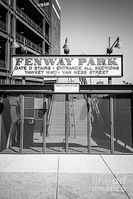Boston Fenway Park Sign Black And White Photo Print by Paul Velgos