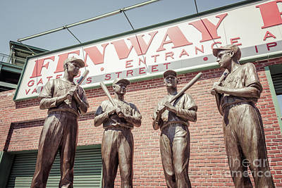 Red Sox Photograph - Boston Fenway Park Sign Gate B Statues by Paul Velgos
