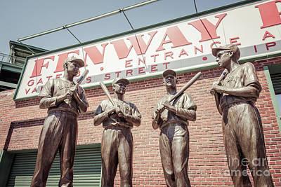 Boston Fenway Park Sign Gate B Statues Print by Paul Velgos