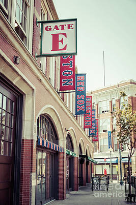Red Sox Photograph - Boston Fenway Park Sign Gate E Entrance by Paul Velgos