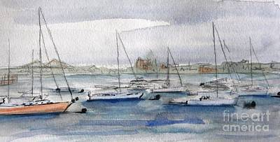 Sailboats In Harbor Painting - Boston Harbor  by Julie Lueders