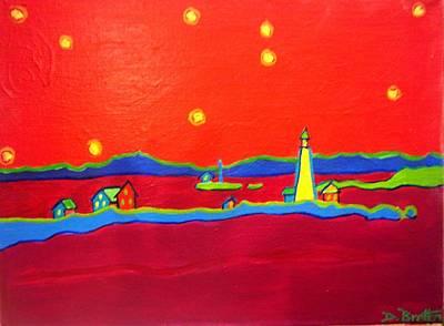 New England Lighthouse Painting - Boston Harbor Lights by Debra Bretton Robinson