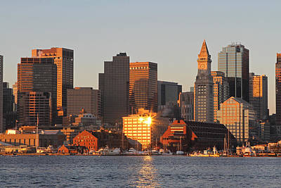 Custom House Tower Print featuring the photograph Boston Harbor Morning Bliss by Juergen Roth