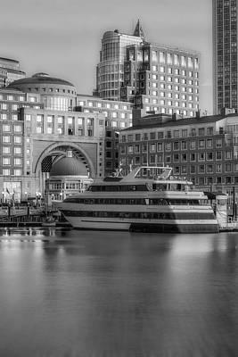 Boats Photograph - Boston Harborwalk Daybreak Bw by Susan Candelario