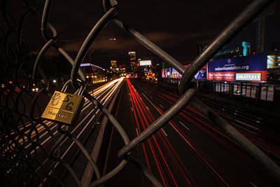 Boston Love Lock Overlooking The Mass Pike Bu Boston Ma Print by Toby McGuire