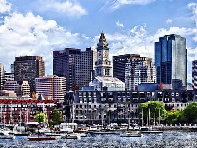 Clock Photograph - Boston Ma - Skyline With Custom House Tower by Susan Savad