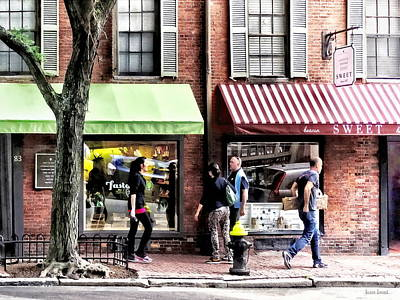 People Photograph - Boston Ma - Street With Candy Store And Bakery by Susan Savad