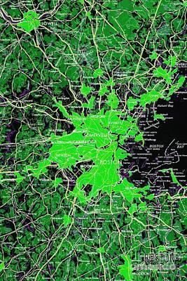 Mapping Mixed Media - Boston Massachusetts 1948 Green Map by Pablo Franchi