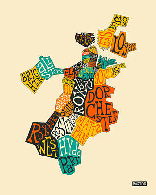 Typography Map Digital Art - Boston Neighborhoods Map Typography by Jazzberry Blue