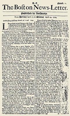 Boston News-letter, 1704 Print by Granger