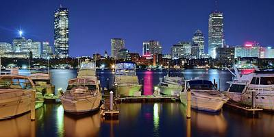 Boston Night Panoramic View Print by Frozen in Time Fine Art Photography
