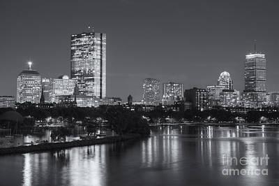 Boston Night Skyline V Print by Clarence Holmes