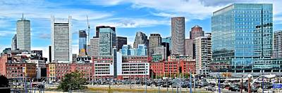 Downtown Area Photograph - Boston Panoramic City View by Frozen in Time Fine Art Photography