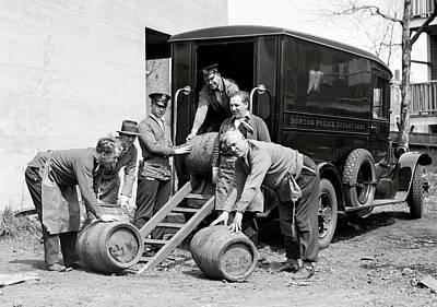 Boston Police Paddy Wagon Prohibition Raid C. 1929 Print by Daniel Hagerman