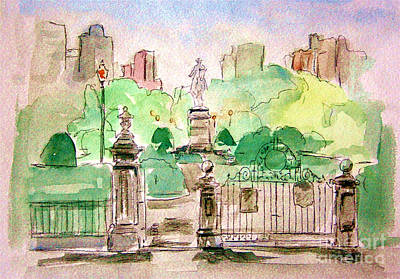 Julie Lueders Artwork Painting - Boston Public Gardens by Julie Lueders