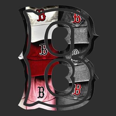 Red Sox Digital Art - Boston Red Sox B Logo by Joann Vitali