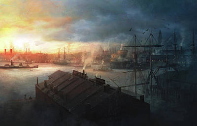 Cthulhu Painting - Boston, September The 2nd, 1930. Miskatonic Expedition. by Guillem H Pongiluppi