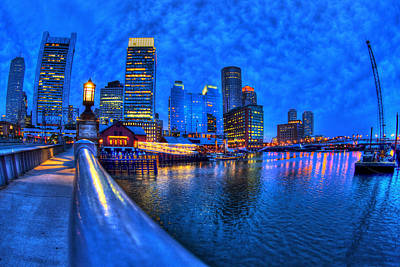 Boston Skyline At Night And Tea Party Museum In Fort Point Channel Print by Joann Vitali