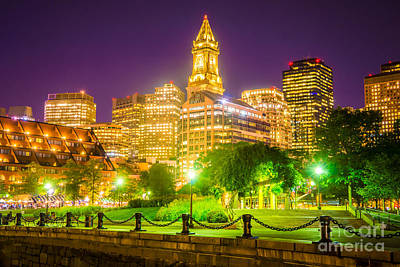 Custom House Tower Print featuring the photograph Boston Skyline At Night With Christopher Columbus Park by Paul Velgos