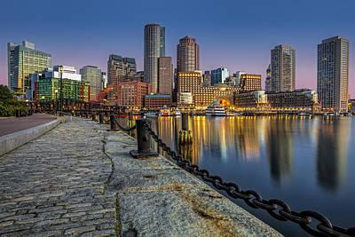 Boston Skyline Dawn Print by Susan Candelario