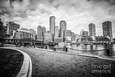 Boston Skyline Harborwalk Black And White Picture Print by Paul Velgos