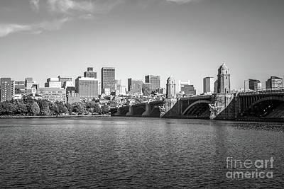 Longfellow Photograph - Boston Skyline Longfellow Bridge Black And White Photo by Paul Velgos