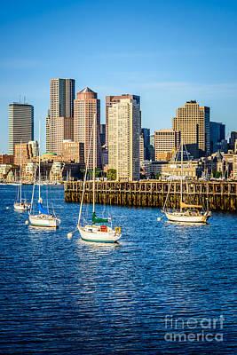 Boston Skyline Photo With Port Of Boston Print by Paul Velgos