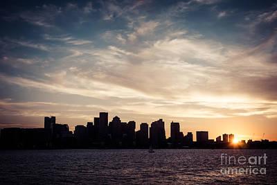 Boston Skyline Picture Vintage Sunset Print by Paul Velgos