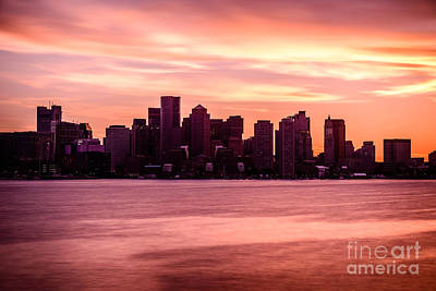 Boston Skyline Picture With Colorful Sunset Print by Paul Velgos