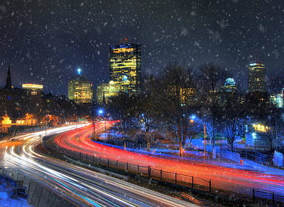 Prudential Center Photograph - Boston Skyline - Snowing On Storrow Drive by Joann Vitali