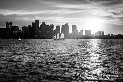 Boston Skyline Sunset Black And White Photo Print by Paul Velgos