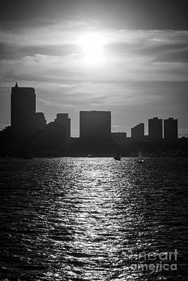 Boston Skyline Sunset Black And White Picture Print by Paul Velgos